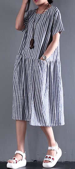 blue summer dress strips flatering fine linen sundress women casual maxi dress