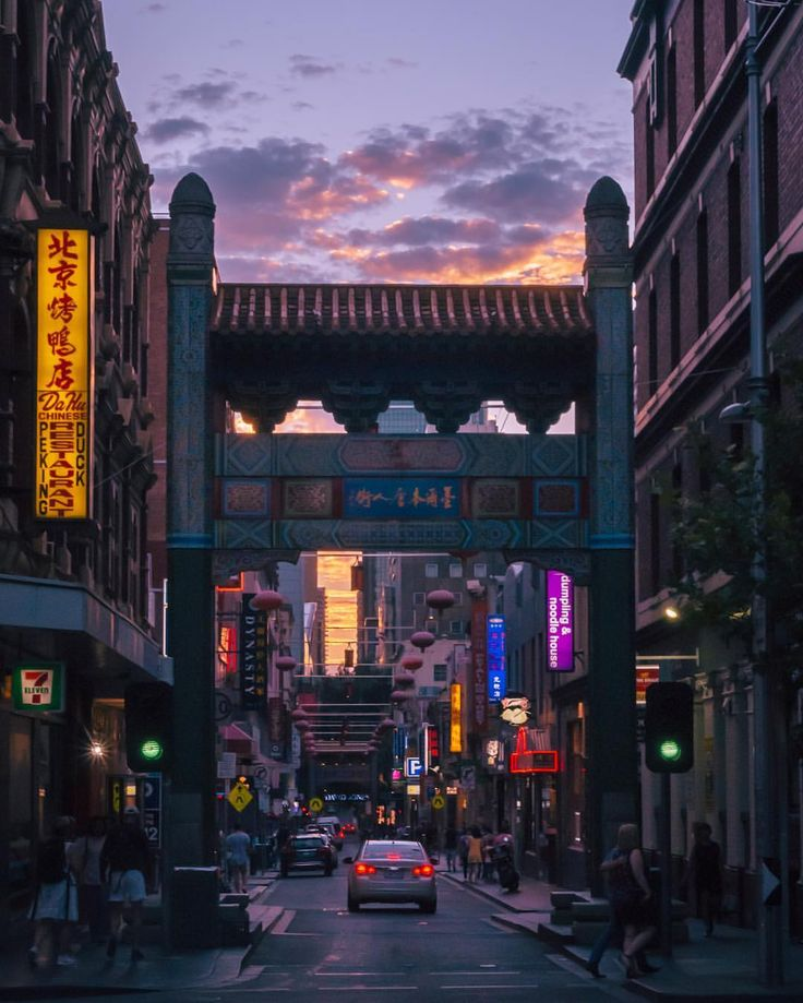 Sunset over Chinatown in Melbourne, Australia