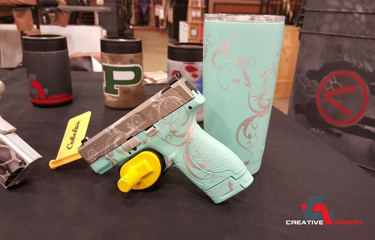 This Would be cool if the sroll work was a darker gray (or dark purple) on simple black. ~ Tiffany Blue M&P Shield & Yeti