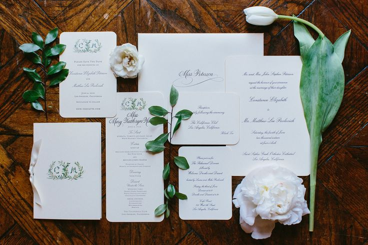 Our stationery, from Jonathan Wright and Company, was beautiful. Everything was Crane's Ecru. The save-the-date was letterpress printed, while the invitation was engraved with a 22 karat gold bevel edge. The monogram was custom painted by Happy Menocal.