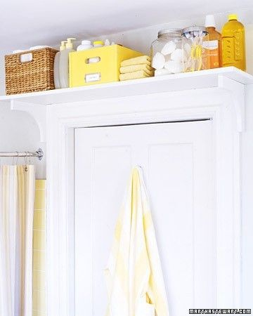 Storage Solutions for a Small Bathroom | Dig This Design - above the door shelving for storage!