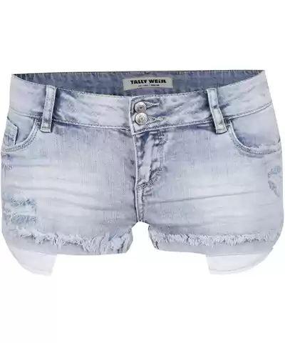 Světle modré džínové kraťasy s nízkým pasem a potrhaným efektem TALLY WEiJL