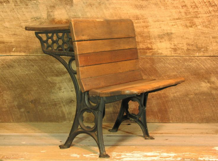 Antique Child School Desk Wood Desk And Cast Iron Legs