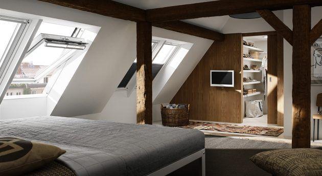 innenausbau dachgeschoss kleine dachgeschosswohnung schlafzimmer unterm dach velux. Black Bedroom Furniture Sets. Home Design Ideas