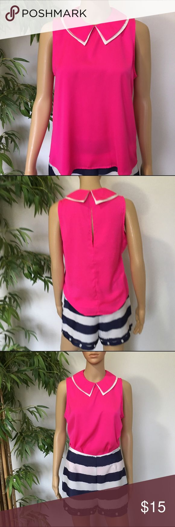 Hot Pink With Collar Blouse size Small NWOT hot pink Blouse with collar size small Forever 21 Tops Blouses
