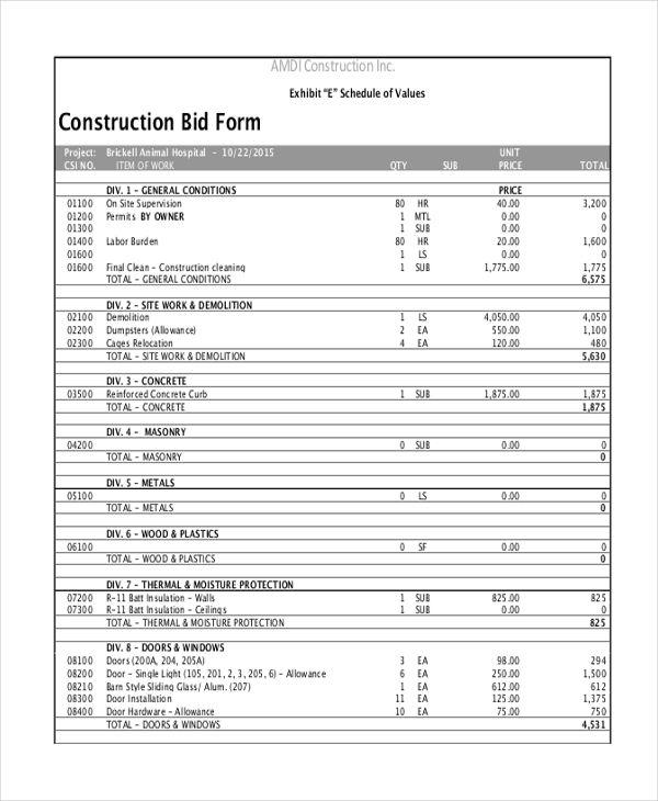 Construction Bid Template Template Templates Sample Resume