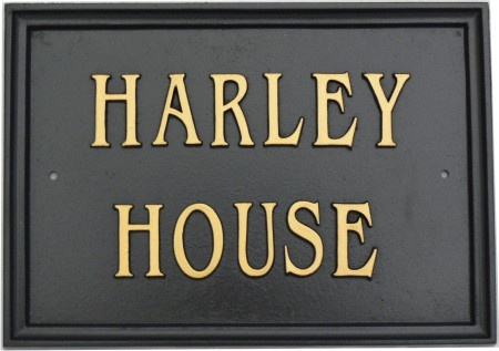 House name sign in black and brass