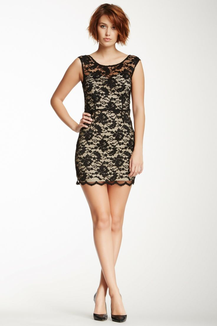 Love Stitch Lace Overlay Mini Dress