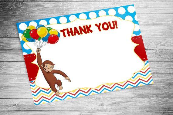 DIGITAL - Curious George Birthday Thank You Cards