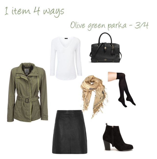 """""""Spring essentials: Olive green parka - 3/4"""" by niki-1hourforme on Polyvore featuring Geox, Joseph, Nly Shoes, Wolford, Coach and Isabel Marant"""