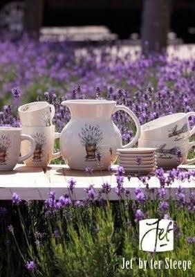 Lavender:  #Lavender field and crockery.