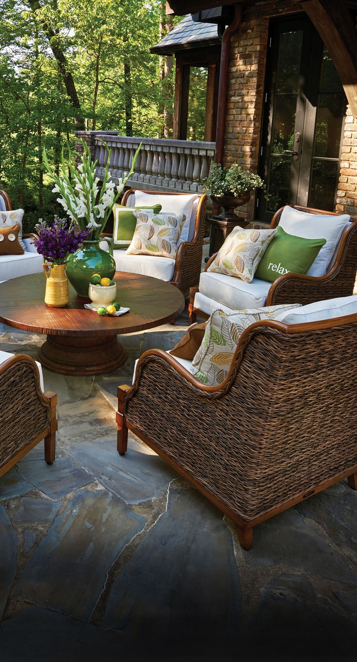 Beautiful and inviting outdoor patio space. The addition of accent pillows brings personality!