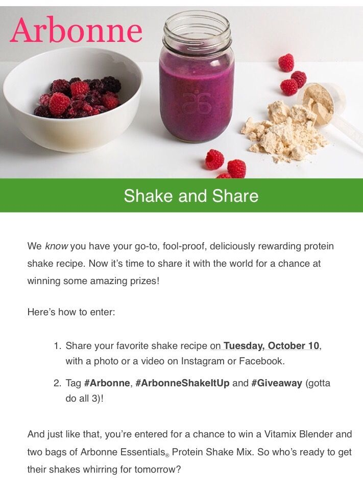 Tuesday October 17th, 2017 just got so much better!!! Share your favorite shake recipe with a photo or video to Facebook or Instagram, Tag #arbonne, #arbonneshakeitup and #giveaway (must do all 3) to be entered to win a Vitamix Blender and 2 (yes 2!) bags of Arbonne Essentials Protein Shake Mix...This is Ahhhh-mazing!!!!