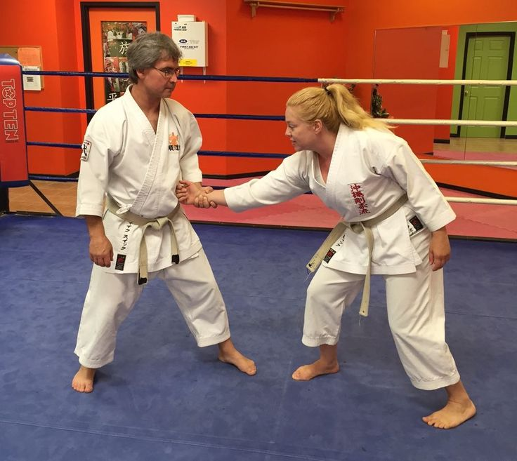 The self-defence technique I have chosen today is an in-line wrist grab, this is a very common action to be grabbed and pulled forwards, Step 1.