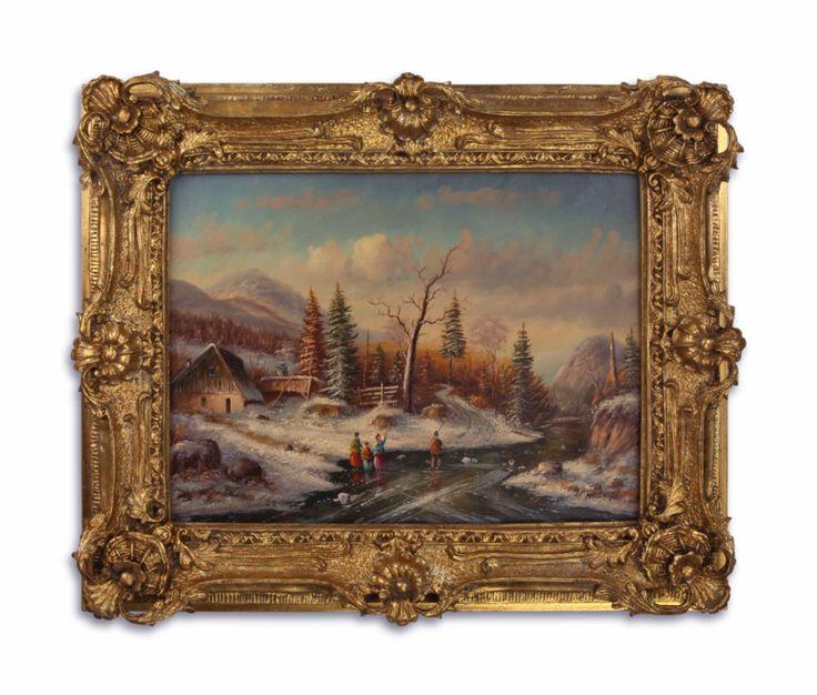 Olieverf schilderij van een winter landschap. https://www.antiekenbrocantereplica.nl