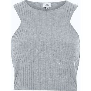 Grey ribbed racer back crop top