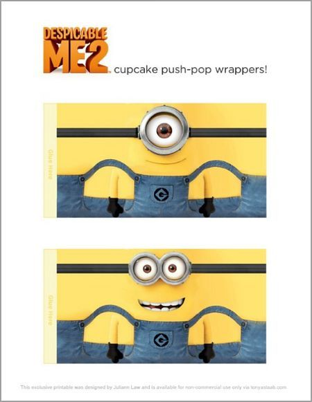 Despicable Me 2 printable Wrappers that fit around a twinkie. I also say where you could just draw the Minion on the Twinkie wrapper with a sharpie marker.                                                                                                                                                     Mais