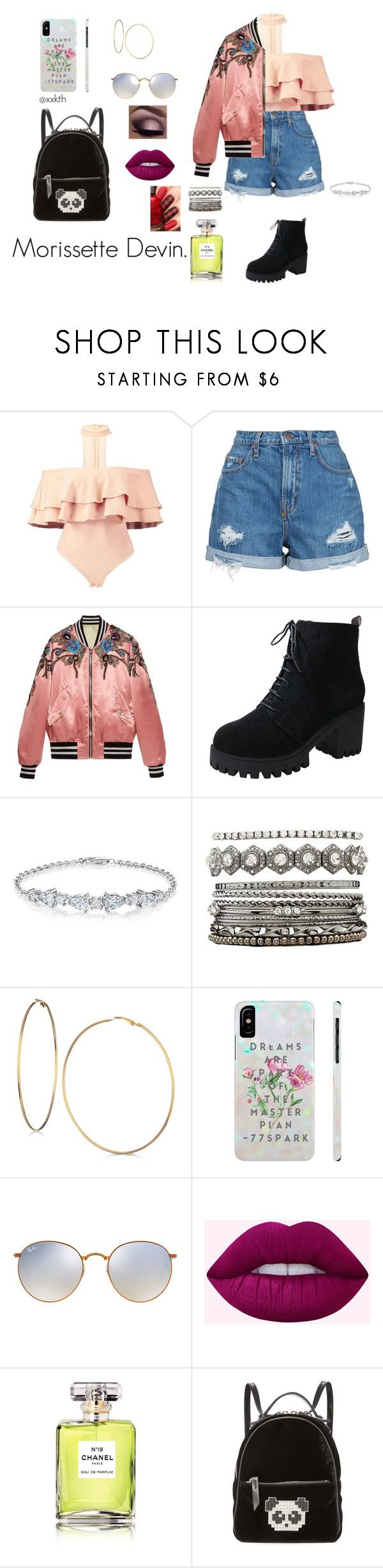 """oc n°2; morissette devin."" by xxkth on Polyvore featuring moda, Nobody Denim, Gucci, Charlotte Russe, GUESS, Ray-Ban, Chanel y Les Petits Joueurs"