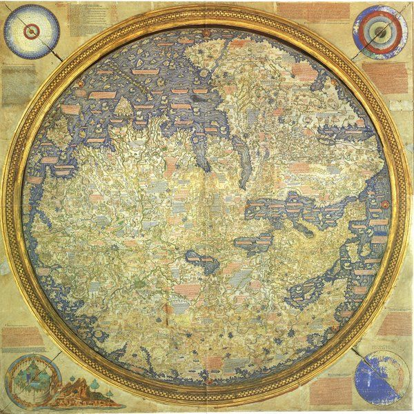 Map of the world by Fra Mauro, 1450, South is up in this one! Visit blog https://designingmaps.blogspot.com  #maps #cartography