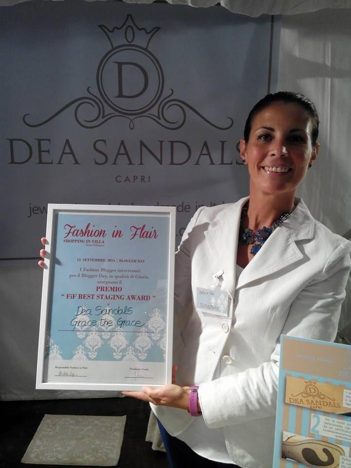Dea Sandals Capri viene premiata per l'originalita' del prodotto e per miglior esposizione al Fashion in Flair 2014. Un grazie a tutte le fashion blogger e al presidente di giuria Sandra Bacci #fashioninflair #deasandals #sandaligioiello #sandalicapri