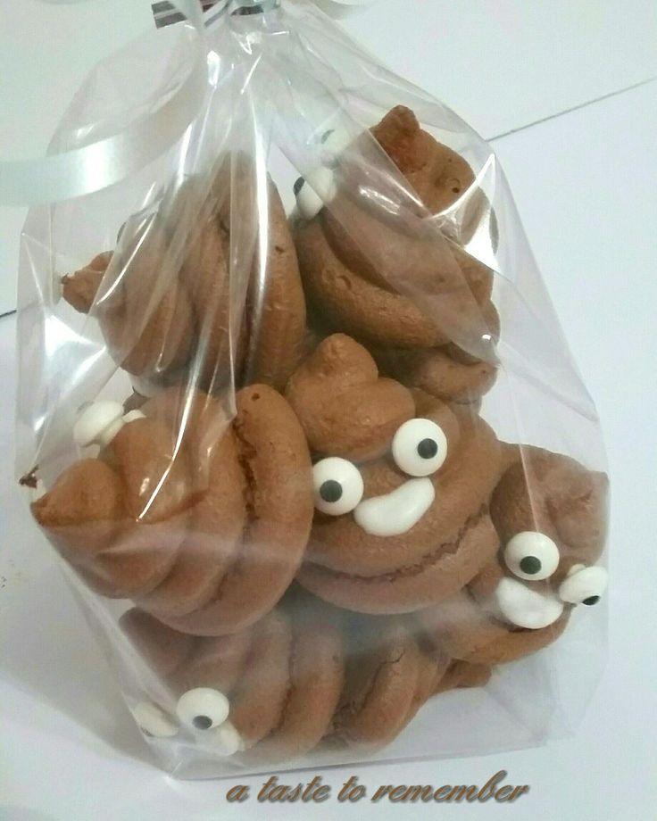 Poop emoji meringues