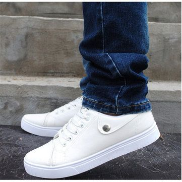 Men Summer Simple Design Breathable Pure Color Lace Up Casual Board Shoes - US$23.38