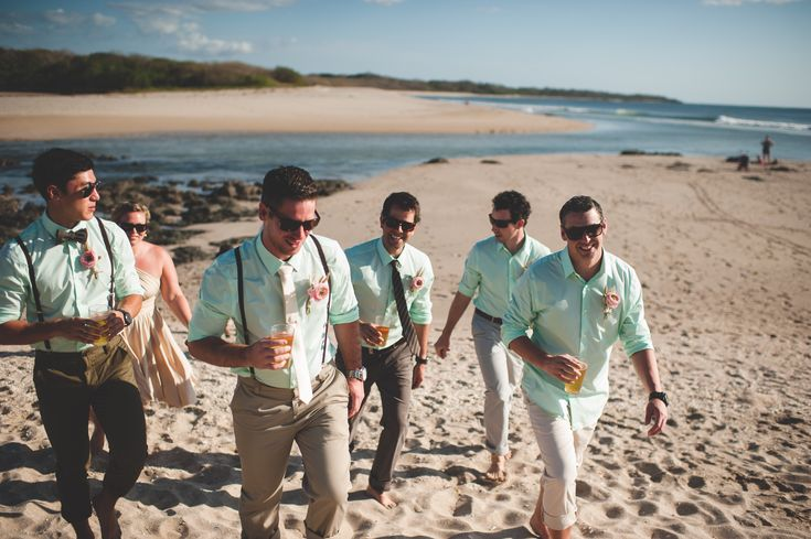 Costa Rica Wedding - Playa Langosta - Tamarindo - Beach Wedding - Groomsmen - Groom - Mint - Suspenders - Casual