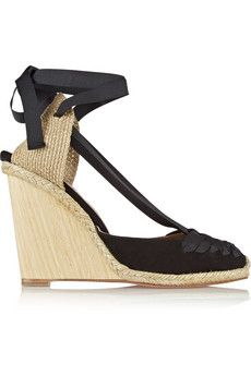 Aquazzura Malibu suede and grosgrain wedge espadrilles