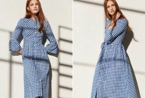 Primark-Guinga-Dirndl-azul-blanco-cuadros-para-mujer-Vestido-de-moda-favorito-UK10-BNWT