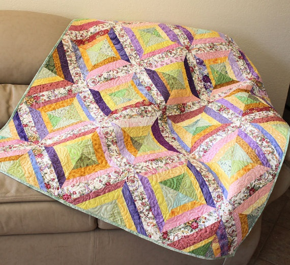 My Crazy Garden Strings Lap Quilt or Sofa by QuiltSewPieceful, $175.00Lap Quilt