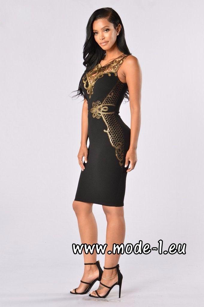 Bleistift Kleid in Schwarz mit Applikationen