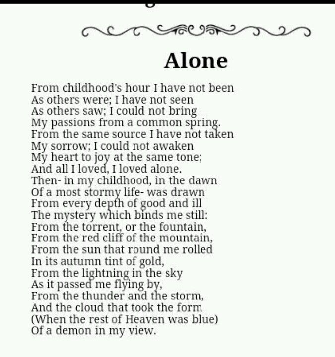 """Alone"" by Edgar Allan Poe"