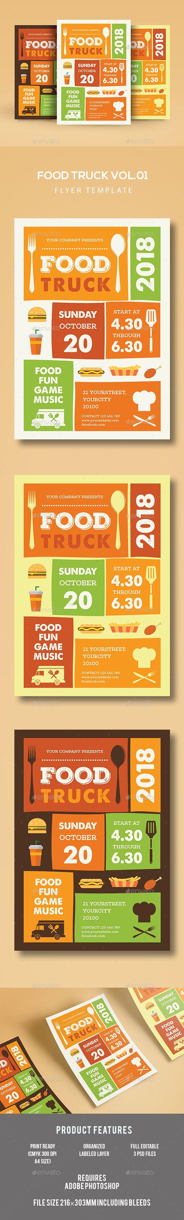 Food Truck Flyer Template PSD. Download here: http://graphicriver.net/item/food-truck-flyer/16891928?ref=ksioks