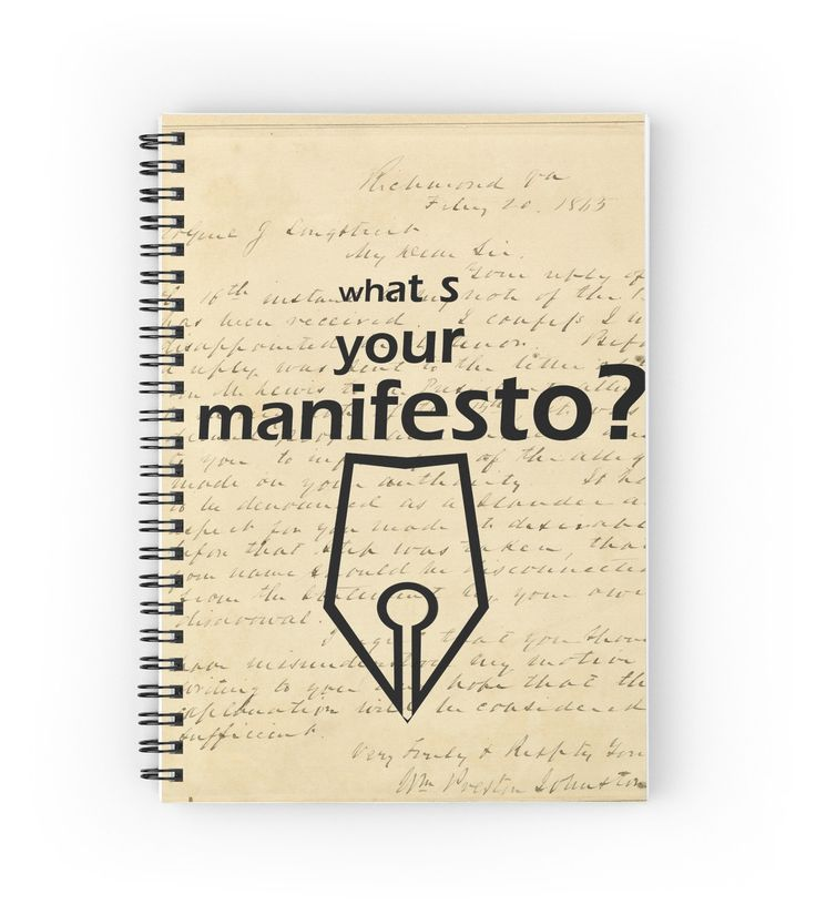 """What s your Manifesto? What do you stand for?/ Bigger than life"" Spiral Notebooks by beyondartdesign 