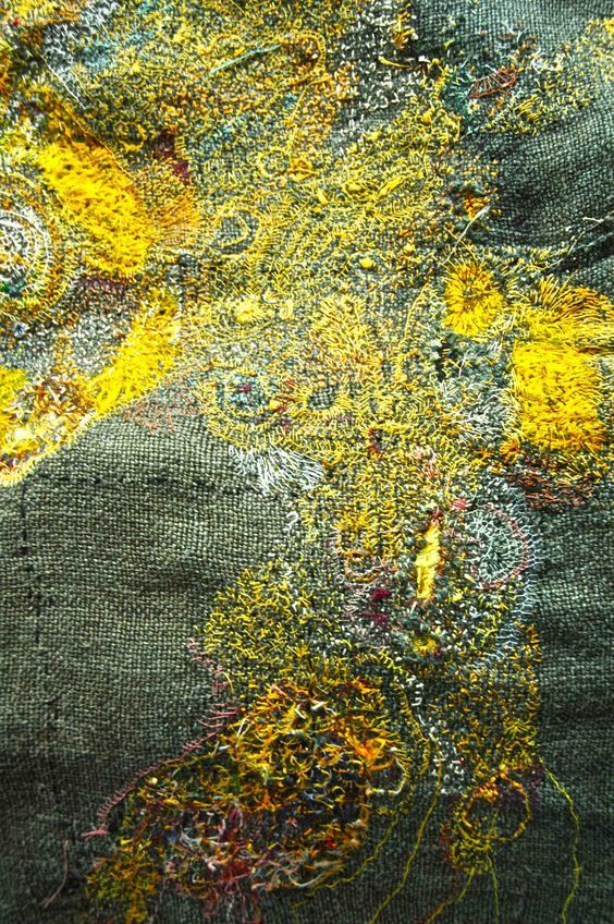 junko oki [lemon] Japanese textile artist Junko Oki calls her work 'Woky Shoten' meaning 'free movement of the line to make a simple repetition of work'. Her intricate embroideries have a worn vintage quality with layers of meticulous stitch work creating pathways and pattern.:
