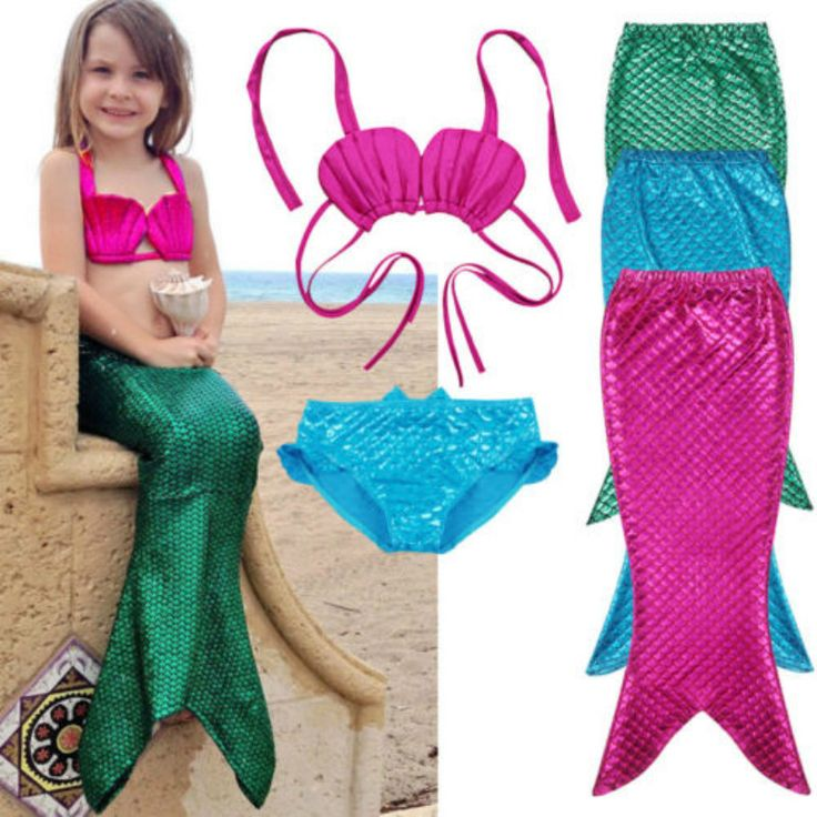 3Pcs Kid Girls Bikini Set Mermaid Tail Girls Swimwear Summer Chidren Girls Swimsuit Swimming Costume