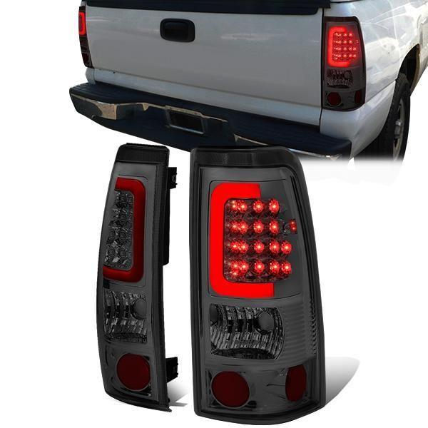 99 03 Chevy Silverado Gmc Sierra 1500 2500 3500 Red C Bar Led Tail Lights Smoked Led Tail Lights Tail Light Gmc Sierra 1500