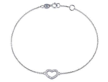 Mimi & Max 14k White Gold 1/10ct TDW Diamond Heart Charm