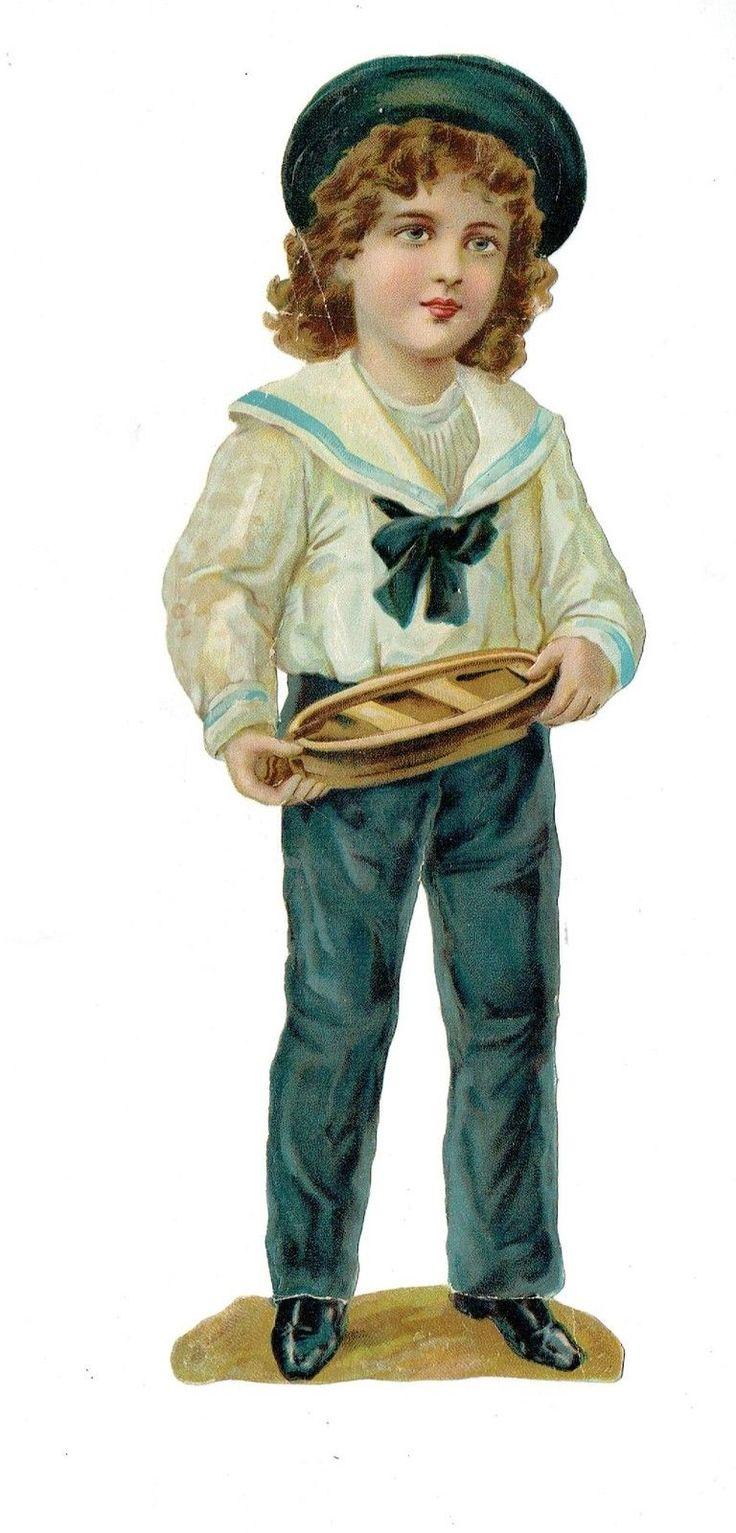 Un chromo - Découpis  - Enfant avec petite barque   - 25 cm fr.picclick.com