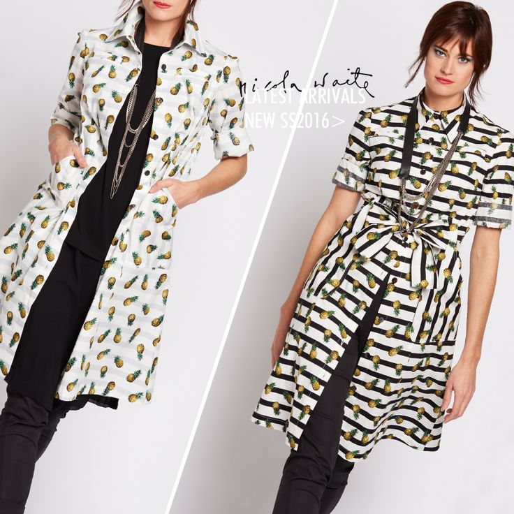 New Spring Summer 2016 pineapple print featured in: black print shirtdress / grey print shirtdress + the tape swing shirt