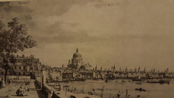 THE THAMES FROM THE TERRACE OF SOMERSET HOUSE WITH THE CATHEDRAL OF ST. PAUL IN THE DISTANCE.  pen with brown-dark ink washed in grey on pencil lines. 200 × 485 mm. London. Windsor Castle Library. Inv. no. 7560.