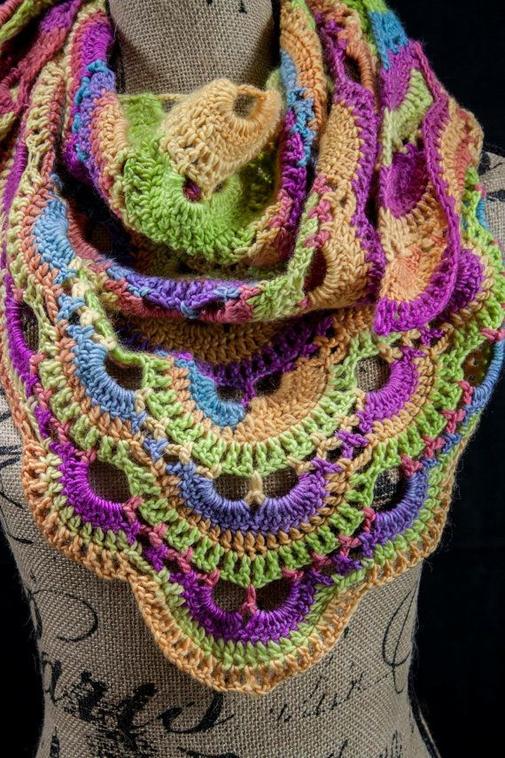 Crochet Pattern Virus Shawl : Rainbow Crochet Virus Shawl by We3MomsCO on Etsy