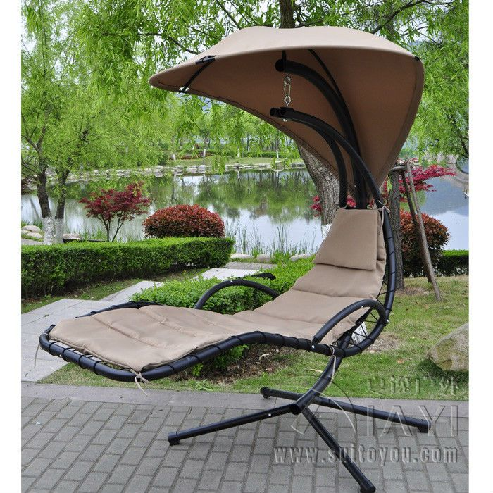 New Steel Stand Patio Hanging Swing Lounger Chair Garden Hammock With Canopy