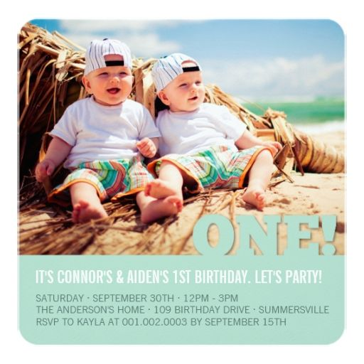 818 best Baby Twins 1st Birthday Party Invitations images on - invitation card for ist birthday