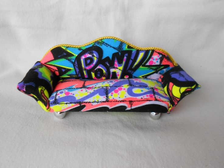 1/12 scale doll's furniture couch - bring your doll's house to the bright neon colours of the 90s!