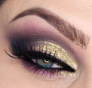 Maquillaje-glitter-dorado-noche