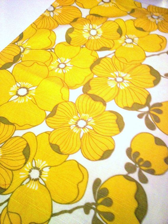 60s swedish vintage mod floral vintage fabric. Scandinavian design, made in Sweden.