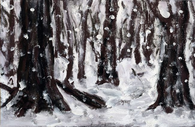 © Peter Booth ~ Drawing c.1995 (forest in snow) ~ c.1995 mixed media on paper at Olsen Irwin Gallery Sydney Australia