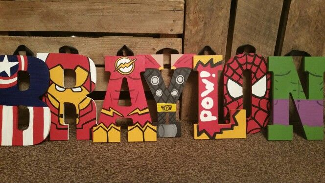 Super Hero wood letters by 6amwithAeri