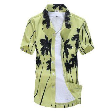Designer Mens Aloha Beach Plus Size Quick Dry Loose Short Sleeve Casual T-shirt - NewChic
